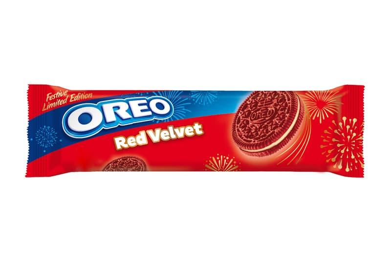 oreo red velvet festive limited edition flavor sandwich cookie color Mondelēz international