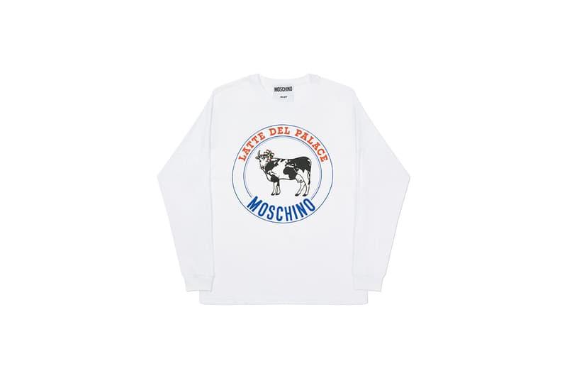 moschino palace skateboards collection collaboration shearling jackets puffers denim hoodies t shirts release fall winter 2020 milk carton duck logo shirt jeans jacket motorcycle bell helmet jeremy scott
