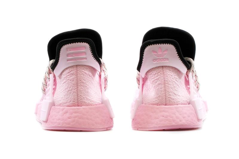 Pharrell Williams x adidas Originals NMD Hu GY0088 GY0094 Pink Aqua Blue Sneaker Release Information Closer First Look BOOST Shoe Trainer Limited Edition Collaboration Hype Drop Date