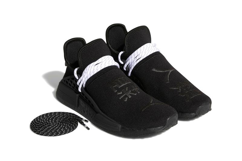 Pharrell Williams x adidas Originals NMD Hu Monochromatic Black Colorway Release Information HYPE Sneaker Shoe Trainer PW Collaboration Limited Edition Drop Date Three Stripes BOOST Chinese Letters Human Race