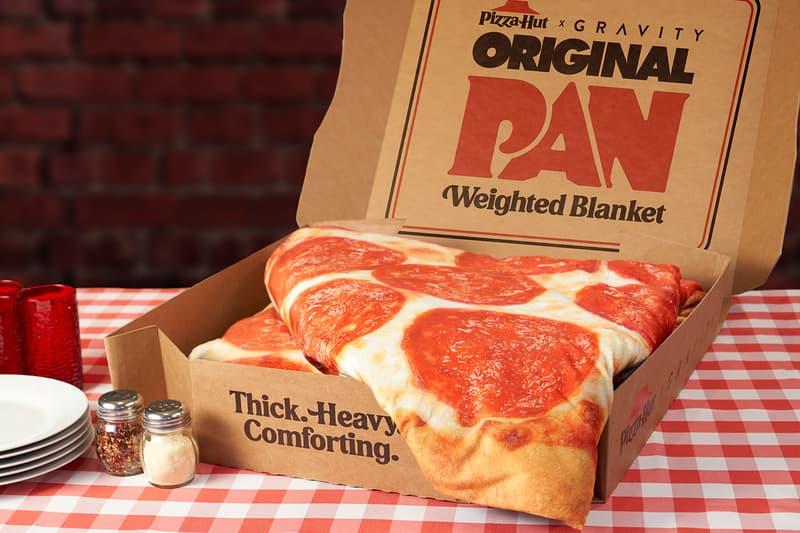 Pizza Hut Drops 15-Pound Original Pan Gravity Blanket  pizza hut foot anxiety sleep warmth Christmas cheese pepperoni