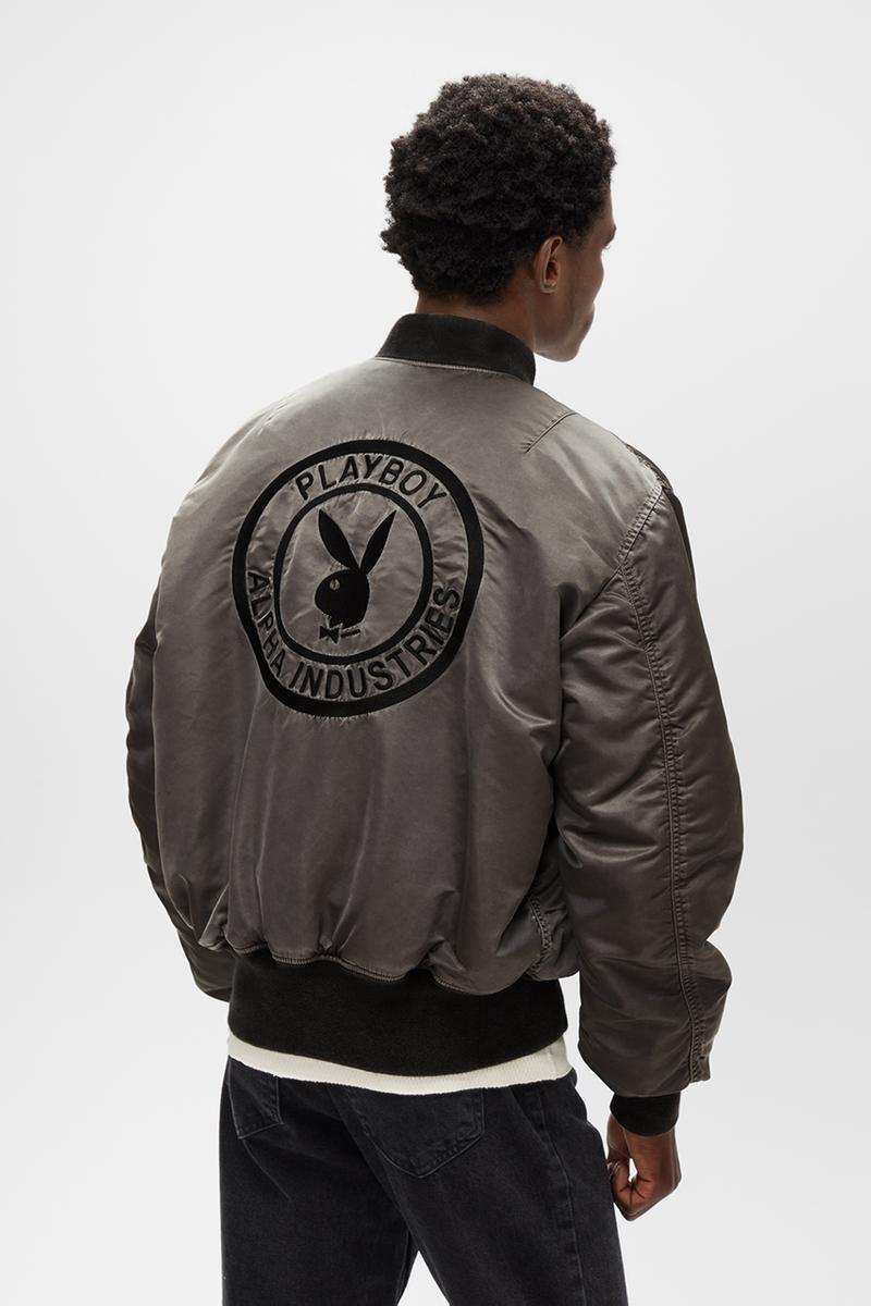 Playboy x Alpha Industries Limited-Edition Garment-Dyed MA-1 Bomber Jacket Fall/Winter 2020 FW20 Collaboration Outerwear Hugh Hefner Play Bunny Magazine Covers Reversible Inside