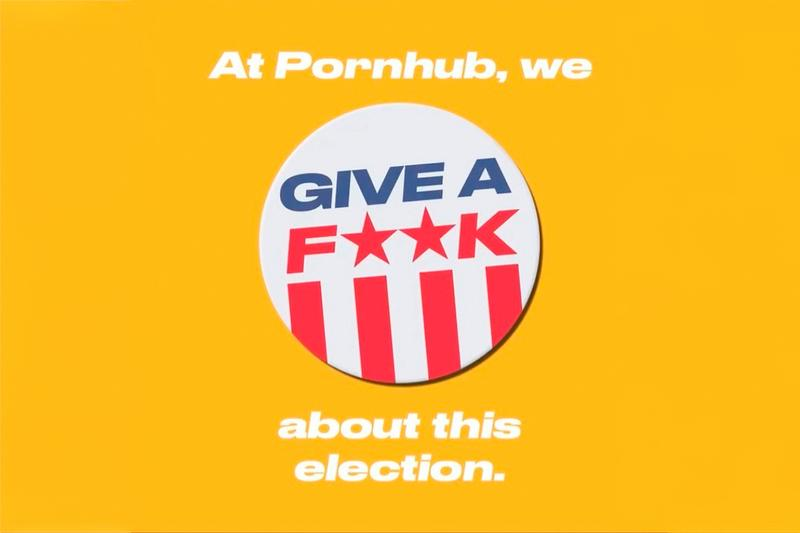 Pornhub Give a Fuck Get a Fuck Voting Campaign Launch Info Asa Akira Janice Griffith Natassia Dreams Lance Hart Sovereign Syre Lotus Laine Domino Presley Voter Voted United States America