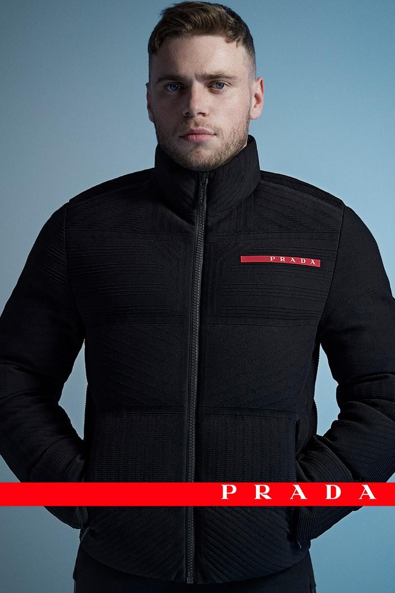 Prada Linea Rossa Fall/Winter 2020 Collection Campaign Gus Kenworthy Olympic Skier FW20 Outerwear Extreme-Tex Skiwear Jackets Tops Trousers Luxury Italian Label Fashion
