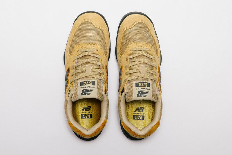 primitive skateboarding new balance numeric 574 tan wheat black tiago lemos video clip official release date info photos price store list buying guide