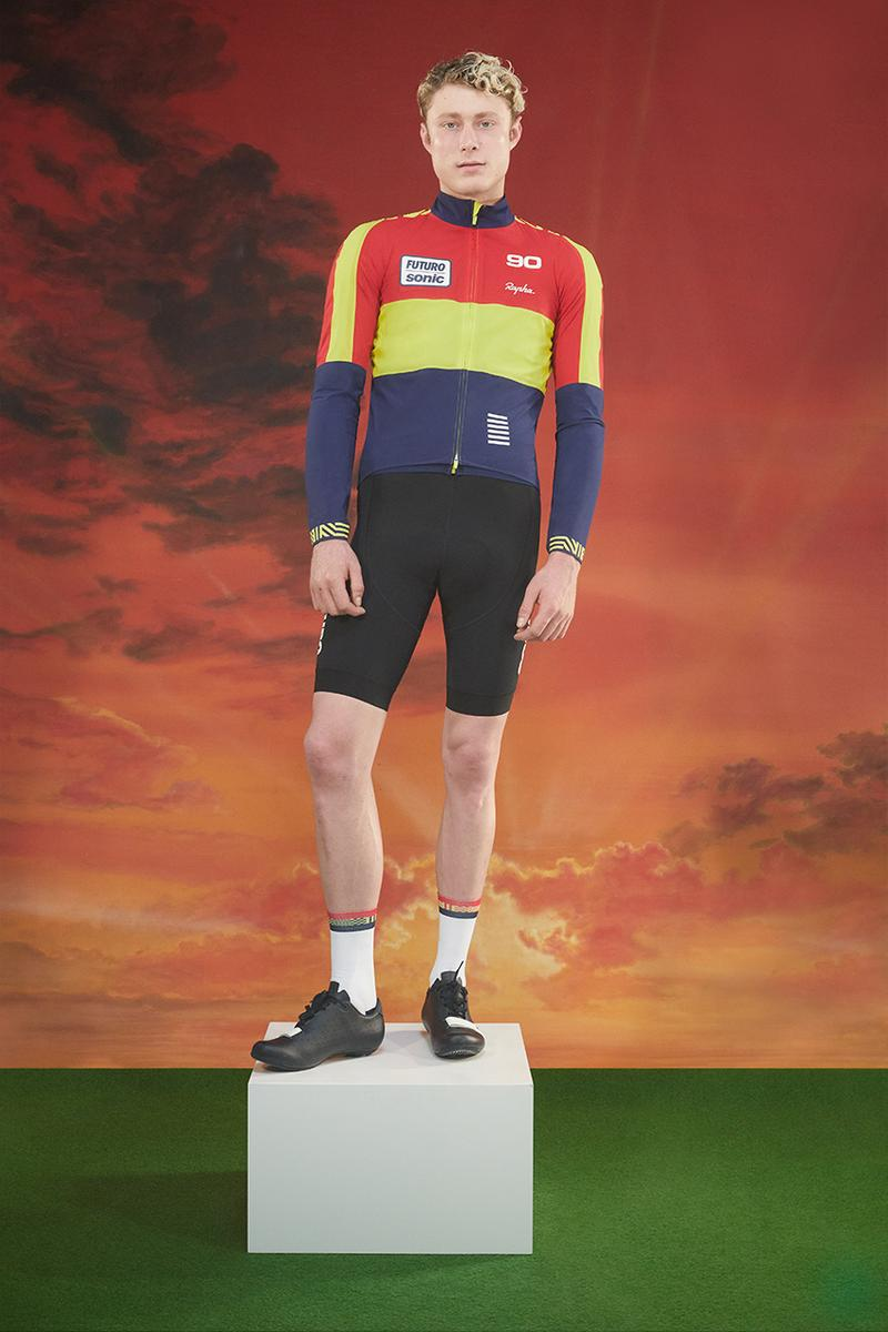 rapha cycling future collection tour de France 1990 football card photoshoot