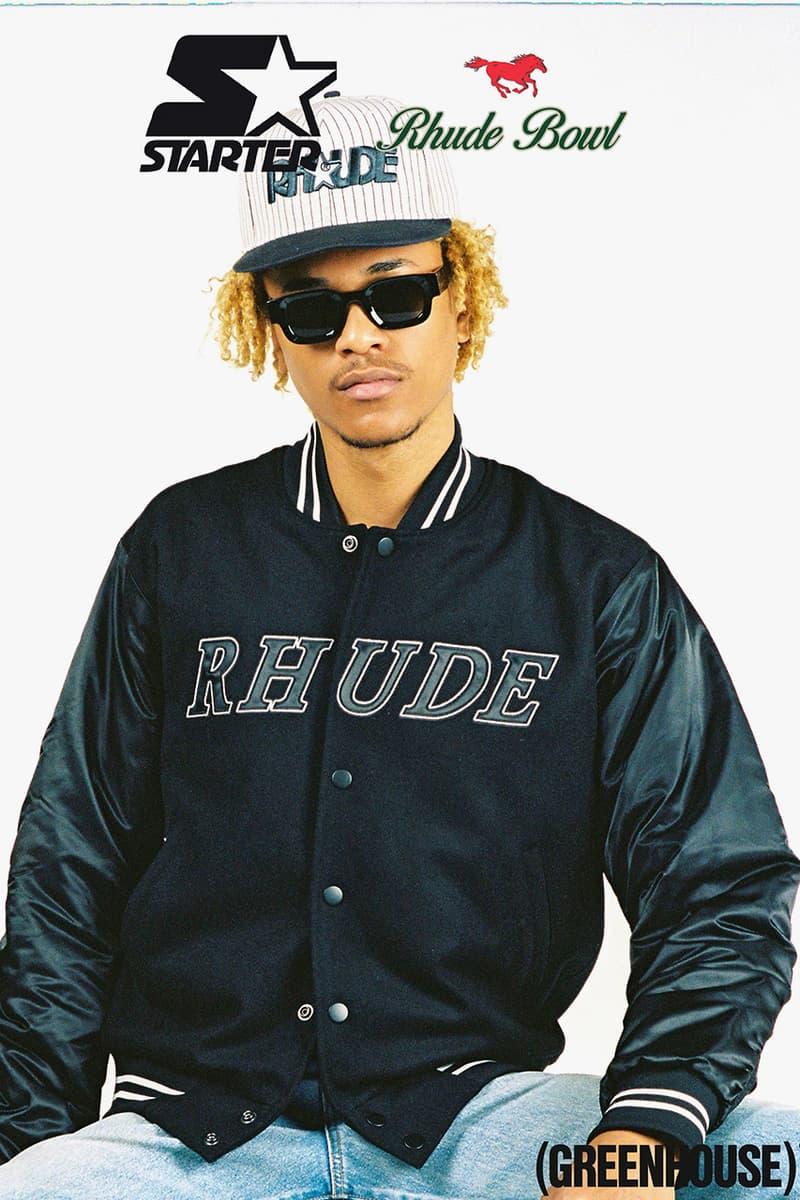 rhude starter collaboration starter jacket pinstripe hat release date info photos greenhouse footlocker