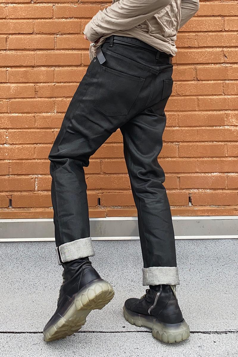 Rick Owens PERFORMA FW20 Made in Japan Collection Self Edge exclusive black-wax Workwear Type III jeans