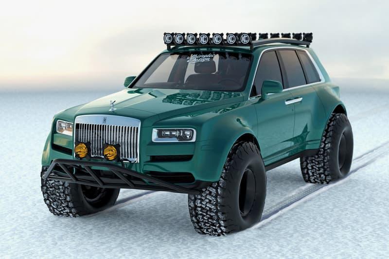 Rolls-Royce Cullinan Off-Road SUV 4x4 Snow Monster Truck Apocalypse Rendering Abimelec Arellano Custom Tuning Power Speed Performance Figures Lights Bars Tuned