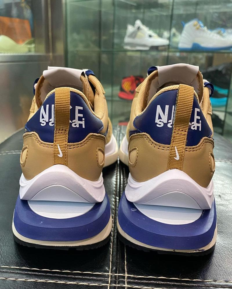 sacai nike sportswear vaporwaffle chitose abe nylon tan navy white DD1875 200 official release date info photos price store list buying guide