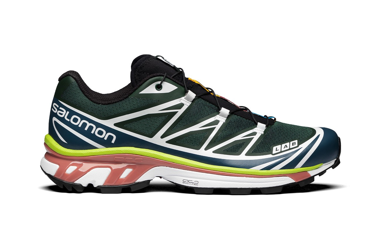 Salomon s/lab xt-6 adv trail sneakers green gables blue white pink dark denim release information outdoors sneakers shoes