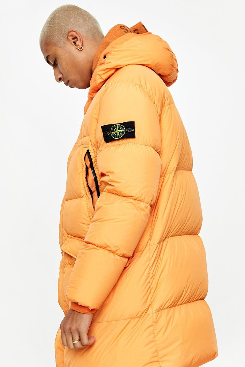 stone island orange jacket badge compass patch down jacket long crinkle reps release where to buy goodhood
