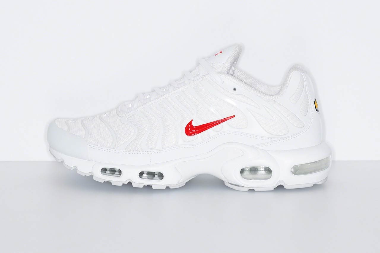 supreme nike sportswear air max plus tn white red official release date info photos price store list buying guide