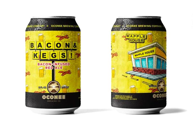 Waffle House x Oconee Brewing Company BACON & KEGS Beer Georgia State USA Waffles Bacon Beer Drinks food snacks IPA Red Ale ABV