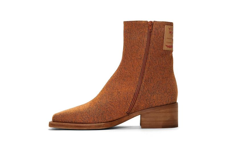 Y/Project Denim Ankle Boots Fall Winter 2020 FW20 Glenn Martens LN-CC $865 USD Levi's Jacrons Tab Leather Paper Distressed Orange Mottled Effect
