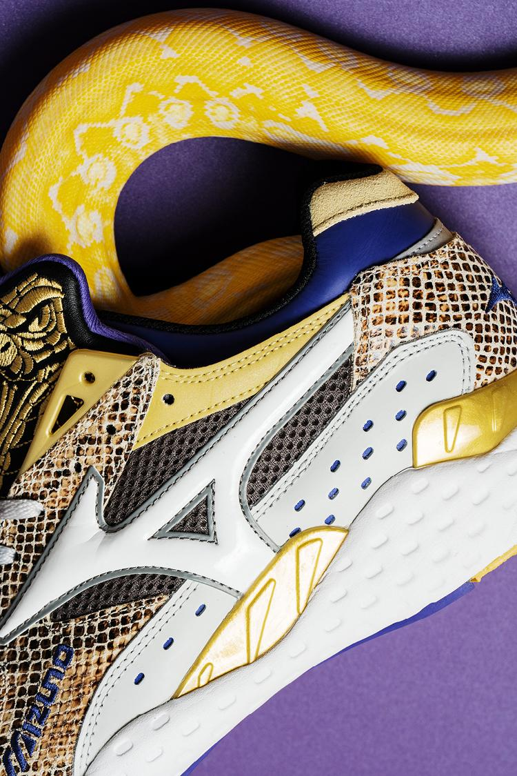 "24 Kilates x Mizuno Mondo Control ""King Kobra V2"" Collaboration Snake Skin D1GD201301 Gold Purple Leather Gray Sneaker Release Information Drop Date Closer First Look"