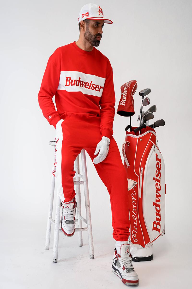 Malbon Golf Launches a Budweiser Collection that consist of a sweatshirt, pants, headcover, golf bag and polo