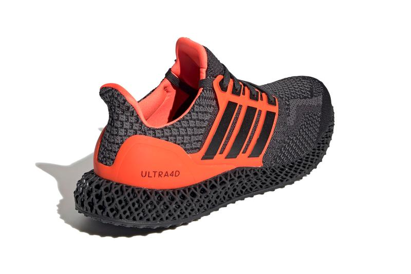 """adidas Ultra4D """"Core Black/Solar Red"""" G58159 """"Core Black/Cloud White/Carbon"""" G58158 Release Information First Look Drop Date Cop Three Stripes Future Four Dimension Light Oxygen Resin Technology Footwear Shoe Sneaker Trainer UltraBOOST OG"""