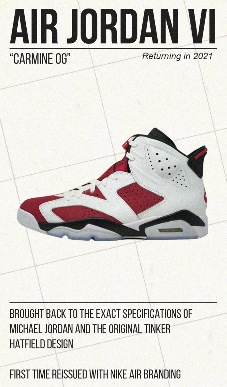 air michael jordan brand 6 carmine nike white red black 30th anniversary 2021 official release date info photos price store list buying guide