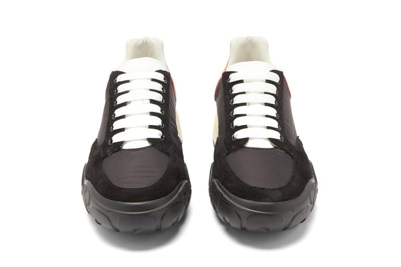 Alexander McQueen oversized sole raised sneaker court black orange heel tab release information