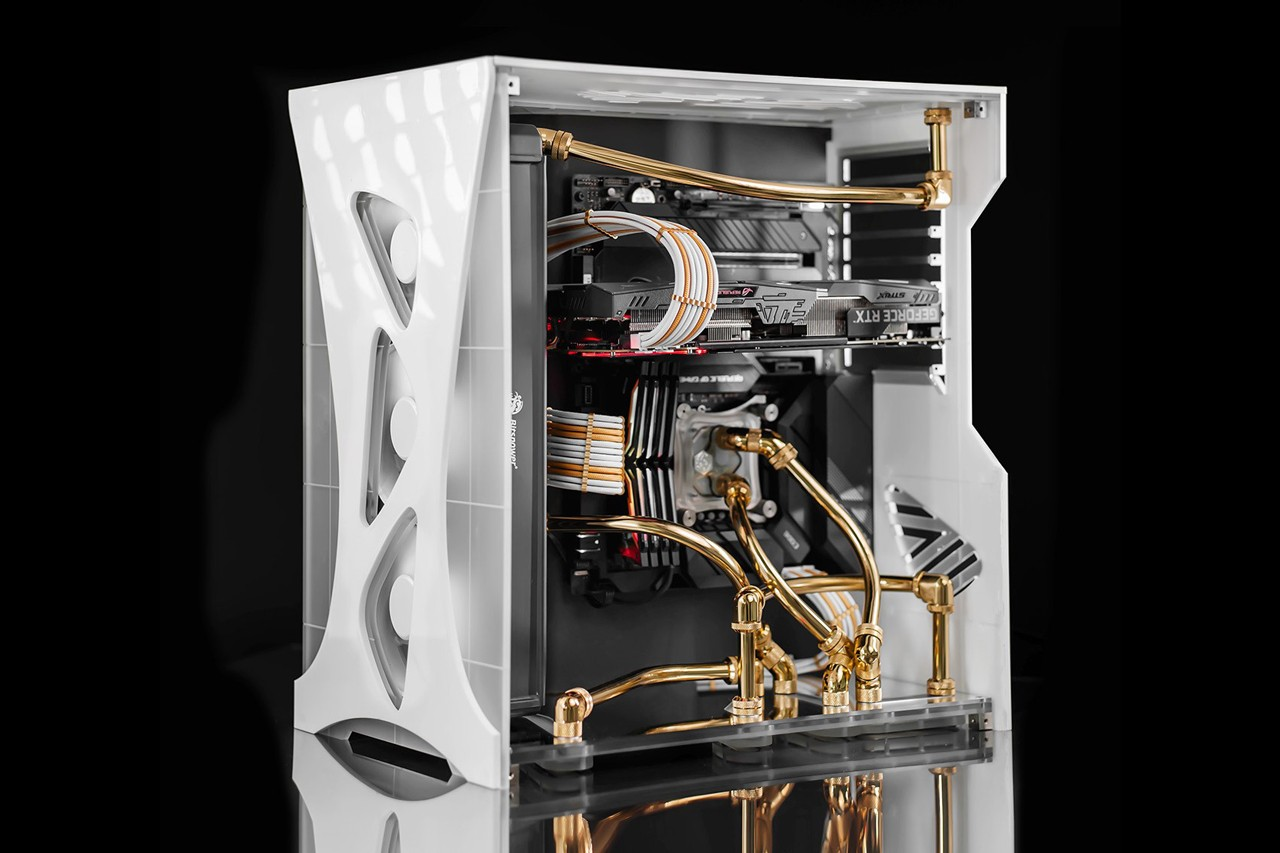 custom computer asus technology red modular black ASUS ROG Strix Z490-E Gaming motherboard and TUF Gaming GeForce RTX 3080 graphics card ROG Thor 850G PSU and ROG Strix Helios GX601 PC case republic of gamers