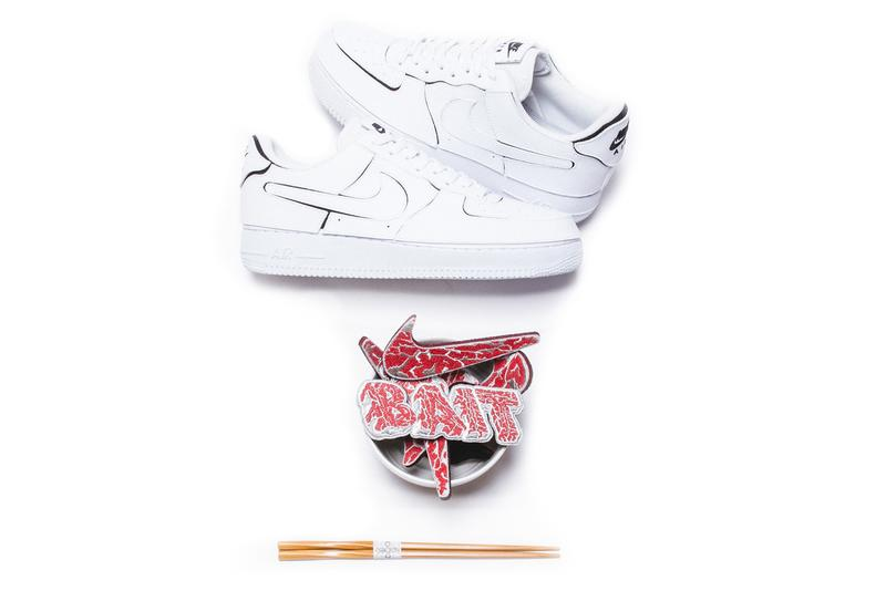 """BAIT x Nike Kokiesland """"A5 Wagyu AF1/1"""" Release Information Drop Date Limited Edition Collaboration Air Force 1 White Steak Patches Glow in the Dark Tokyo Comic Con 2020"""