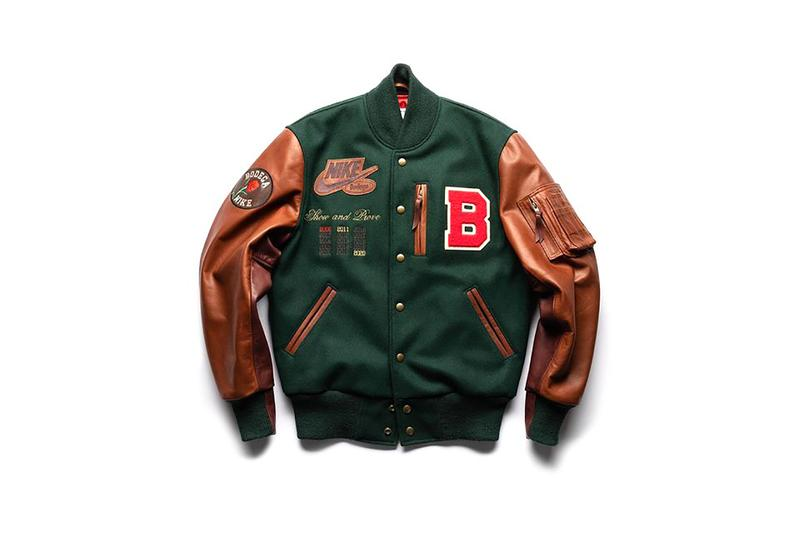 bodega nike letterman jacket green brown raffle info photos wool leather patches