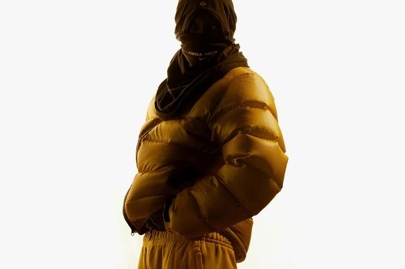 Drake x Nike NOCTA Apparel Collection Release Date Prices cost collaboration puffer jacket socks crew black university gold sweater hoodie puffer jacket pants swoosh