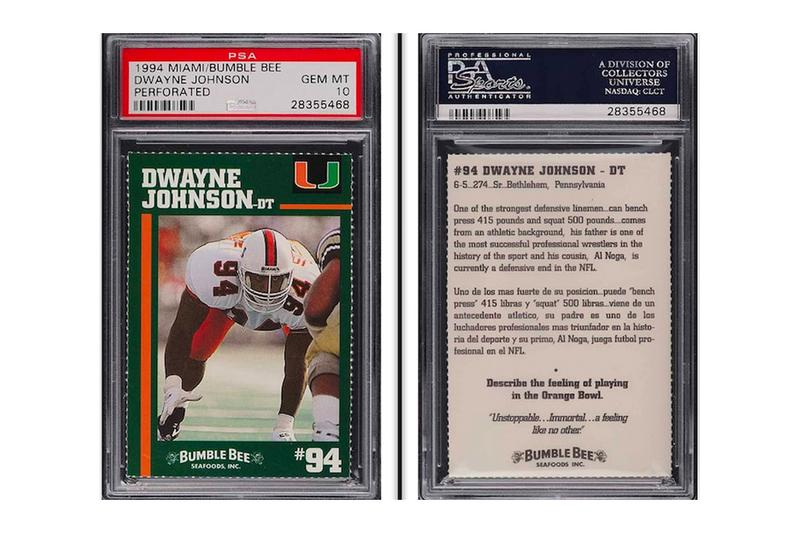 Dwayne The Rock Johnson University of Miami Football Card Champion Trading Card Announcement Resell $14K