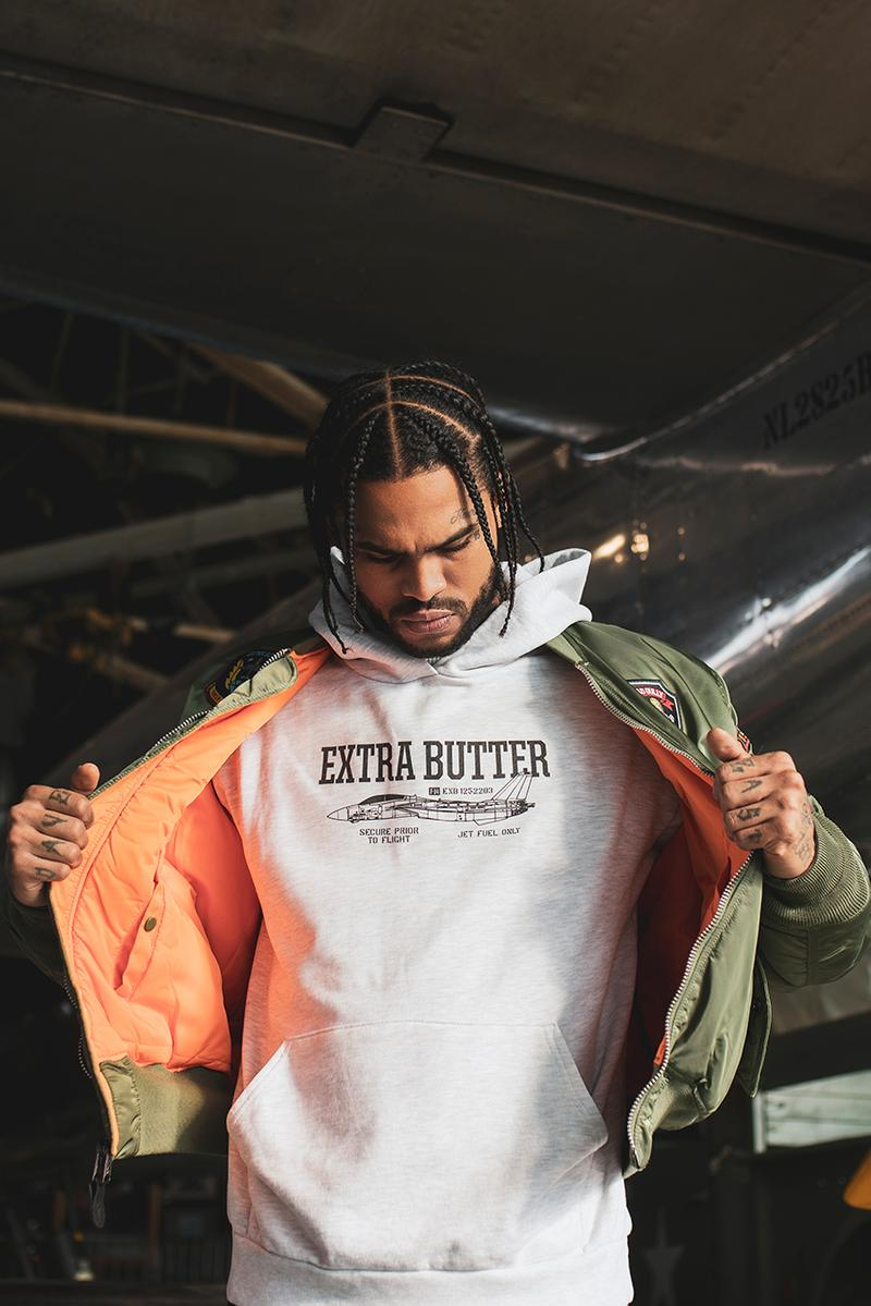 extra butter tomcat collection asics alpha industries g shock hoodie t-shirt kayano v og flight jacket watch release info date photos