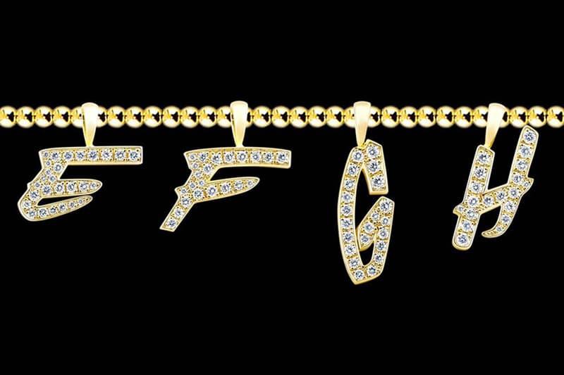 EYEFUNNY Futura LAboratories diamond letter pendants Futura2000 japan vs stone gold necklace pendants