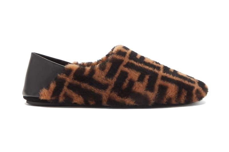 fendi ff logo shearling slippers fall winter 2020 matches fashion logo ff covered