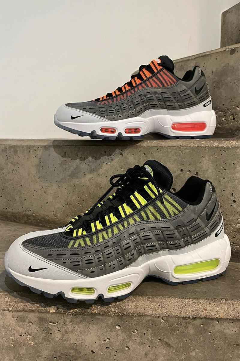 kim jones dior fendi nike air max 95 total orange black grey white volt release information details morse code
