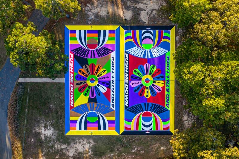 lakwena basketball court mural arkansas justkids arkanvas oz art