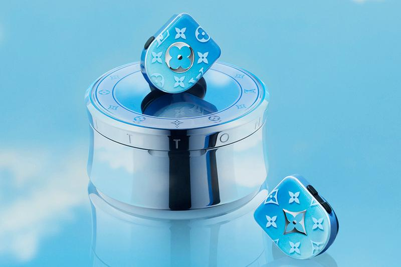 louis vuitton wireless horizon earphones white blue gradient details silver buy cop purchase virgil abloh