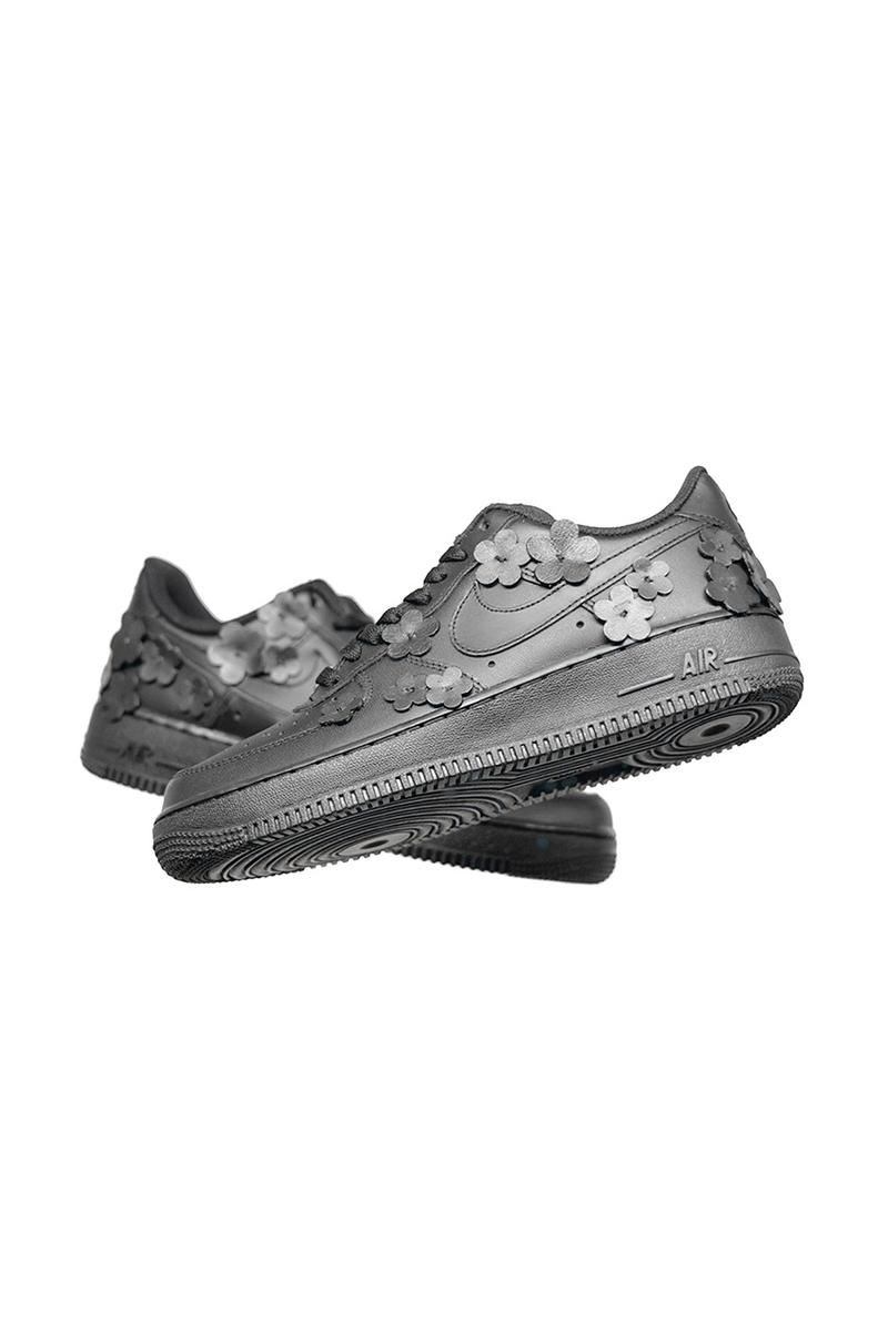 "Made Black Nike Air Force 1 ""BLACK FLAWA"" Custom Leather Flower Application Appliqué Triple Black AF1 Hand Made Designed Limited Edition Footwear Sneaker Drop Date Release Information Unofficial Collaboration Shoe Swoosh"