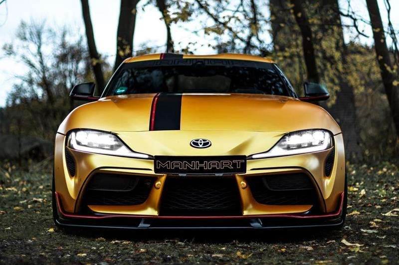 MANHART Toyota Supra MK5 GR 550 First Look German Japanese Sportscar Automotive Tuning Company BMW Z4 Engine Power Upgrades Wheels Bodykit Custom Speed Performance JDM Turbo 550 HP 770 Nm Torque Limited Edition Gold Color Wrap