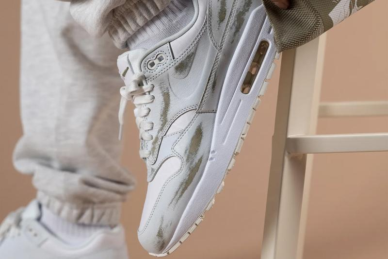 """Nike Air Max 1 """"Yours"""" SUMMIT WHITE / WHITE / SAIL / MEDIUM KHAKI Sneaker Release Information Closer First Look Rub Away Distressed Wear Tear Upper Premium Leather AM1"""