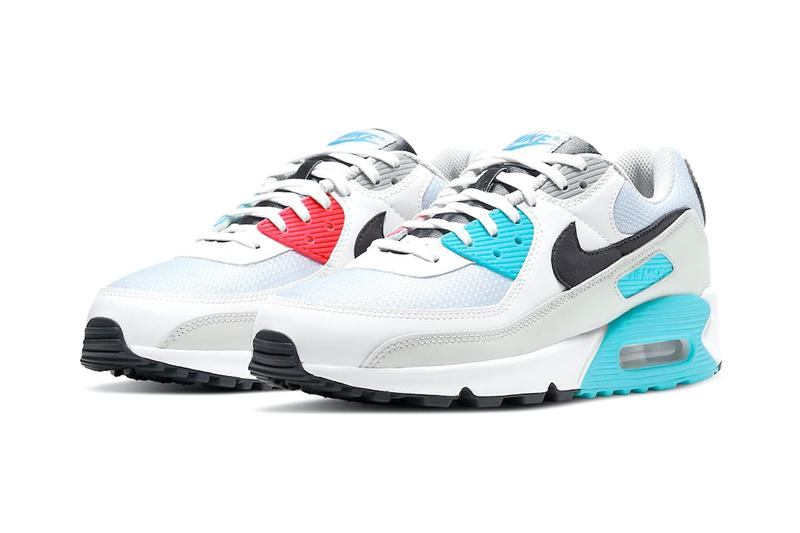 nike air max 90 chlorine blue fusion red information release