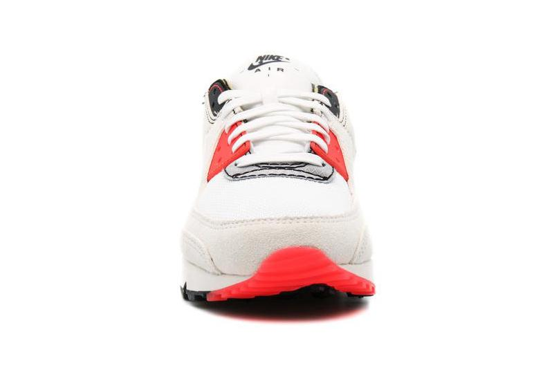 """Nike Air Max 90 AMIII AM90 PRM """"White/Black"""" """"Infrared"""" DC7856-100 Inside-Out Deconstructed Reverse Print Design Swoosh Limited Edition Sneaker Drop Date Release Information Closer First Look Shoe Footwear Trainer OG Air"""