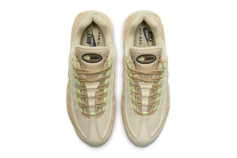 Nike Teases its Air Max 95 PRM Grain Releasing in Early 2021 footwear sneakers swoosh cream sand mint releases