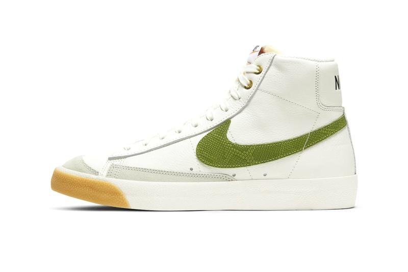 Nike Blazer Mid 77 Vintage Asparagus Snakeskin DC1706 100 menswear streetwear shoes sneakers kicks trainers runners fw20 fall winter 2020 collection