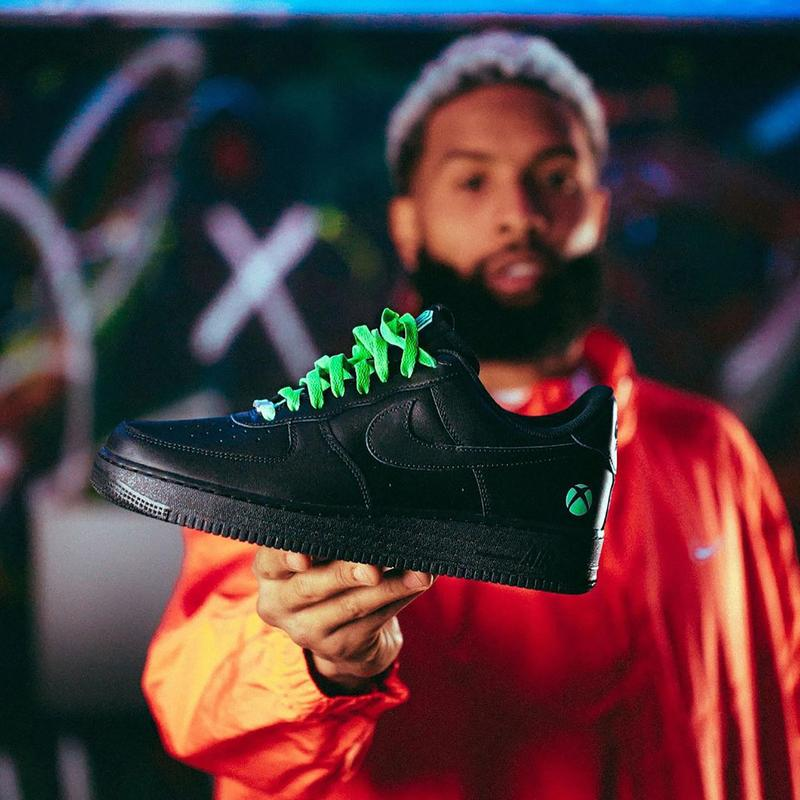 obj xbox custom nike air force 1 low black green controller info twitter giveaway info photos odell beckham jr