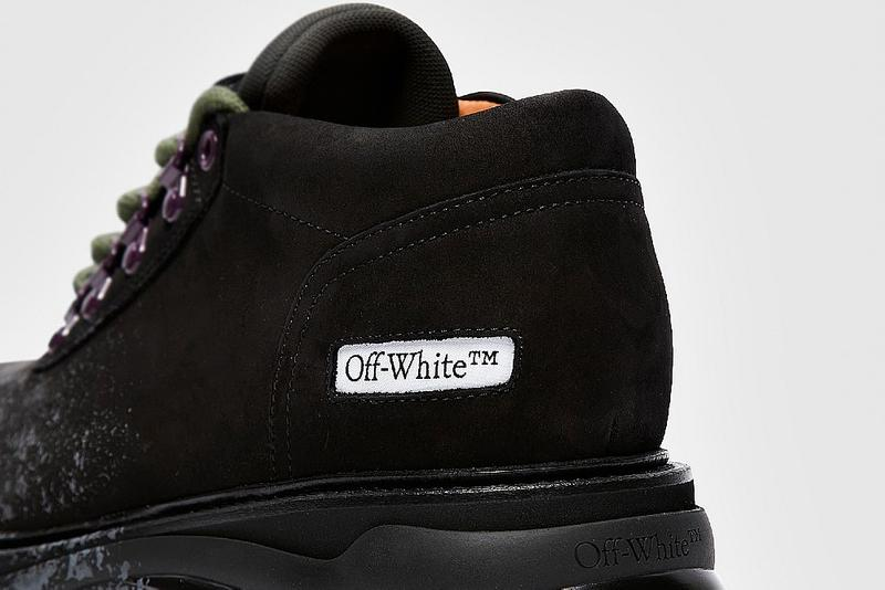 Off-White™ Chunky Sneaker-Boot Hybrid Fall Winter 2020 FW20 Runway Show Shoe Virgil Abloh Collection Sevenstore $1,347.50 USD Made in Italy Paint Spray Effect Suede Metal SHOELACES