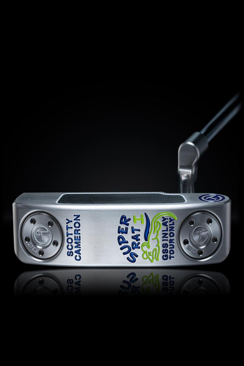 Scotty Cameron Super Rat I is accented in blue and lime with a GSS inlay