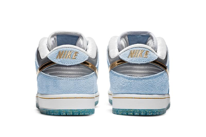 sean cliver nike sb dunk low DC9936 100 white psychic blue metallic gold release date info photos buying guide