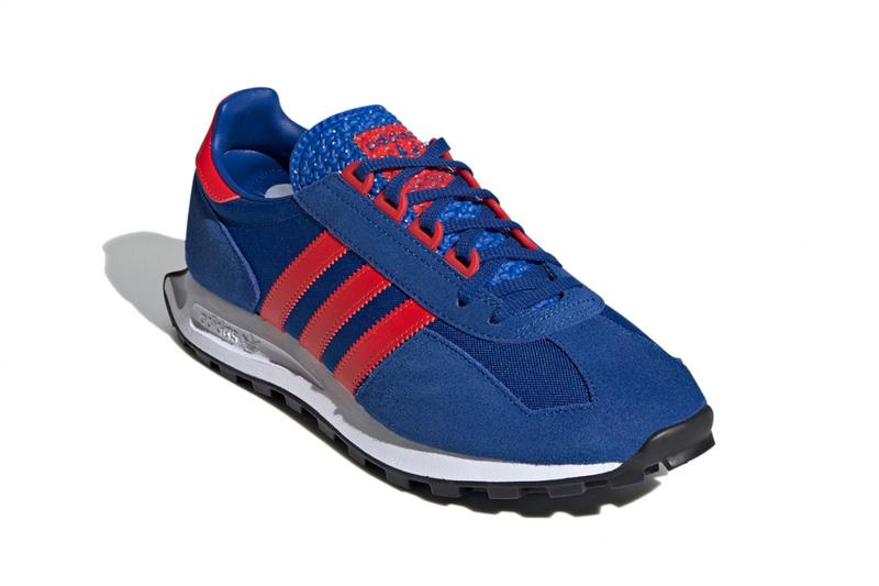 adidas originals, adidas, racing, running, footwear, sneakers, blue, red, black, white, leather, mesh, suede, classic, 1970, trefoil, three stripes, formula 1, tire, wheels,