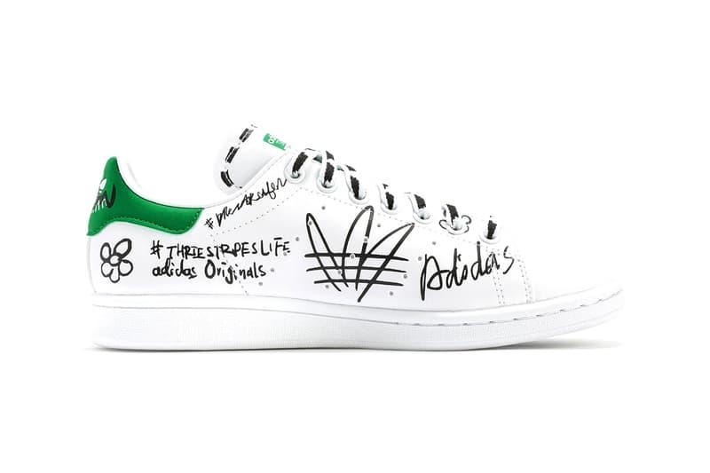 "adidas Originals Stan Smith Vegan Leather ""Footwear White/Green"" Tennis Sneaker Shoe Trainer Doodle Scribble Sharpie Graffiti Custom Release Information Drop Date HBX"