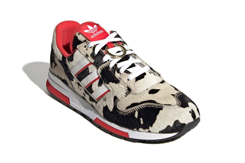 adidas Originals ZX 420 CNY Chinese New Year Cow Print Ox Cloud White Lush Red Core Black FY3662 Furry Uppers Moo Pony Hair Three Stripes OG 1980s Sneaker Release Information Drop Date Closer First Look Trefoil Torsion