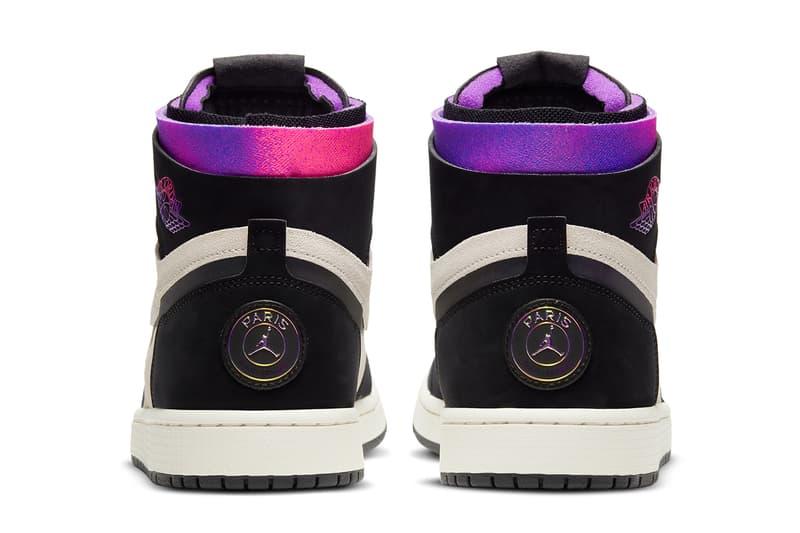 psg paris saint germain air michael jordan brand 1 high zoom cmft white black psychic purple hyper pink DB3610 105 official release date info photos price store list buying guide